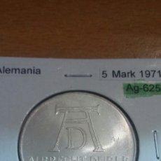 Monedas antiguas de Europa: ALEMANIA PLATA 5 MARK 1971 SC KM129. Lote 113556924