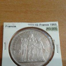 Monedas antiguas de Europa: FRANCIA PLATA 10 FRANCS 1965 SC KM932. Lote 113577462