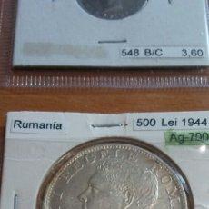 Monedas antiguas de Europa: RUMANÍA PLATA 500 LEÍ 1944 SC KM65. Lote 113653602