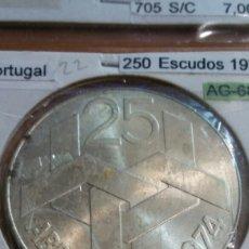 Monedas antiguas de Europa: PORTUGAL PLATA 250 ESCUDO 1976 SC KM604. Lote 113661240