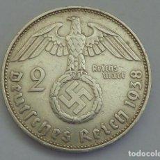 Monedas antiguas de Europa: MONEDA DE PLATA 2 MARCOS 1938 CECA F, STUTTGART, ALEMANIA NAZI, MARISCAL PAUL VON HINDENBURG. Lote 114699383