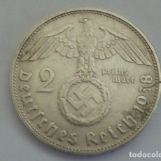 Monedas antiguas de Europa: MONEDA DE PLATA 2 MARCOS 1938 CECA D, MUNICH, ALEMANIA NAZI, MARISCAL PAUL VON HINDENBURG. Lote 114699459