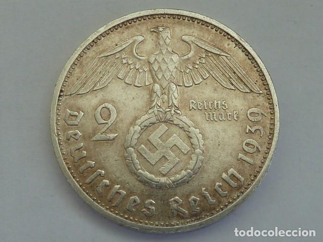 MONEDA DE PLATA 2 MARCOS 1939 CECA F, STUTTGART, ALEMANIA NAZI, MARISCAL PAUL VON HINDENBURG (Numismática - Extranjeras - Europa)