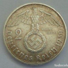 Monedas antiguas de Europa: MONEDA DE PLATA 2 MARCOS 1939 CECA F, STUTTGART, ALEMANIA NAZI, MARISCAL PAUL VON HINDENBURG. Lote 114700087