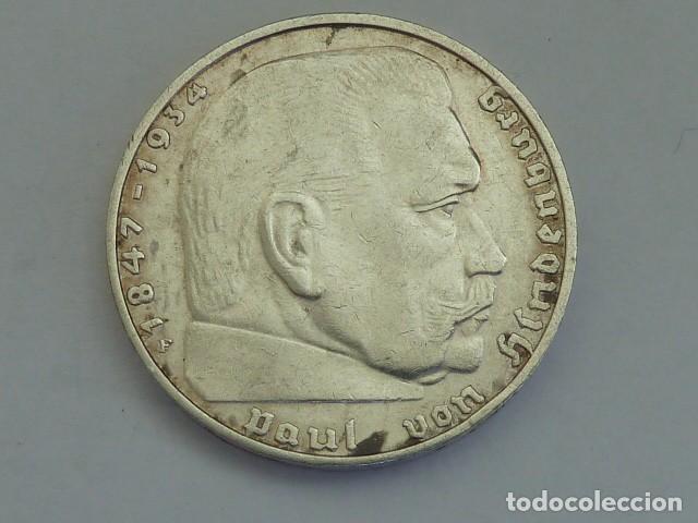 Monedas antiguas de Europa: MONEDA DE PLATA 2 MARCOS 1939 CECA F, Stuttgart, ALEMANIA NAZI, MARISCAL PAUL VON HINDENBURG - Foto 2 - 114700087