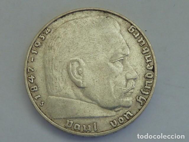 Monedas antiguas de Europa: MONEDA DE PLATA 2 MARCOS 1937 CECA J, Hamburgo, ALEMANIA NAZI, MARISCAL PAUL VON HINDENBURG - Foto 2 - 114700563