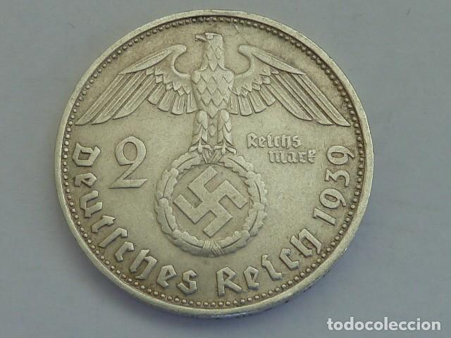 MONEDA DE PLATA 2 MARCOS 1939 CECA D, MUNICH, ALEMANIA NAZI, MARISCAL PAUL VON HINDENBURG (Numismática - Extranjeras - Europa)