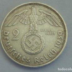 Monedas antiguas de Europa: MONEDA DE PLATA 2 MARCOS 1939 CECA D, MUNICH, ALEMANIA NAZI, MARISCAL PAUL VON HINDENBURG. Lote 114700791