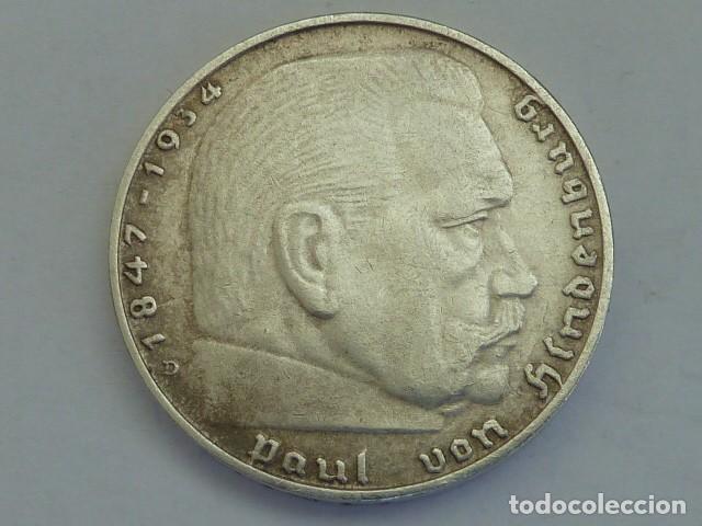 Monedas antiguas de Europa: MONEDA DE PLATA 2 MARCOS 1939 CECA D, Munich, ALEMANIA NAZI, MARISCAL PAUL VON HINDENBURG - Foto 2 - 114700791