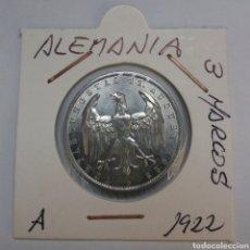 Monedas antiguas de Europa: ALEMANIA 3 MARCOS 1922 CECA A, SC. Lote 115061828