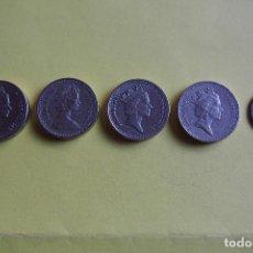 Monedas antiguas de Europa: LOTE 5 MONEDAS INGLATERRA. GRAN BRETAÑA. REINO UNIDO. POUND. PENNY. LIBRA Y PENIQUE. VER FOTOS. Lote 116091651