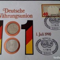 Monedas antiguas de Europa: CARTA NUMISMATICA CON 2 MONEDAS DE 1 MARCO DE CADA ALEMANIA POR LA UNIFICACION DE LA MONEDA. Lote 116689479
