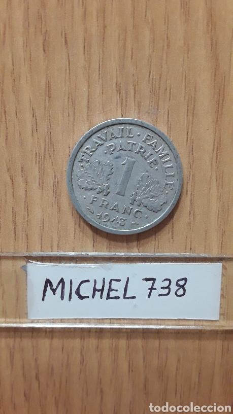 MONEDA FRANCIA...1 FRANCO...AÑO 1943...VICHY FRANCIA...ALUMINIO...KM# 902... (Numismática - Extranjeras - Europa)