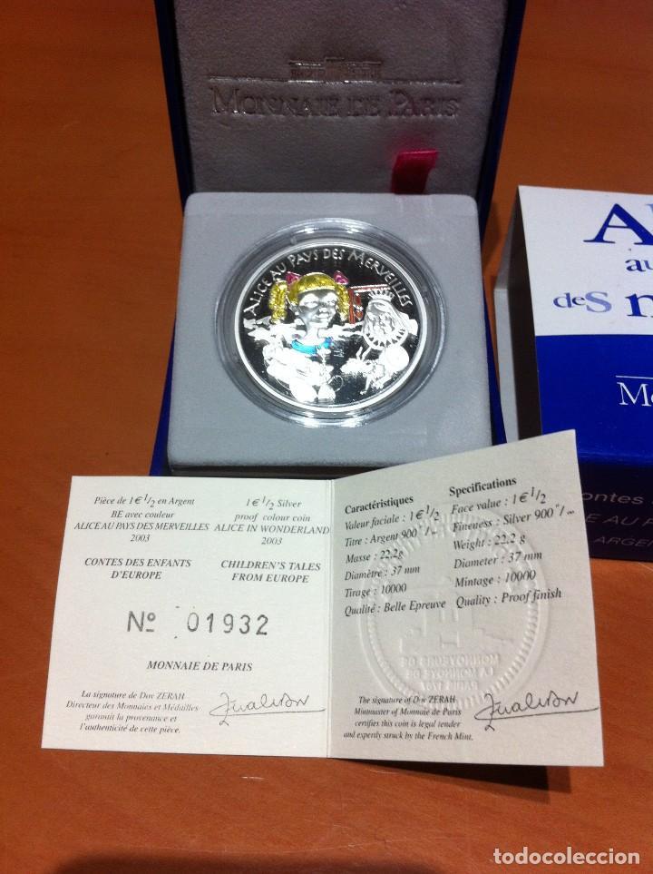 MONEDA DE PLATA FRANCIA , ALICIA EN EL PAIS DE LAS MARAVILLAS (Numismática - Extranjeras - Europa)