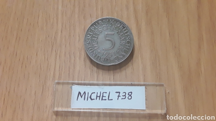 MONEDA ALEMANIA 5 MARCOS PLATA (AÑO 1951) CECA D (Numismática - Extranjeras - Europa)