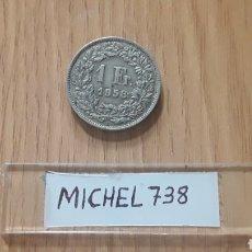 Monedas antiguas de Europa: MONEDA SUIZA 1 FRANCO PLATA AÑO 1958. Lote 109125275