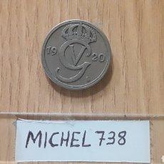 Monedas antiguas de Europa: MONEDA SUECIA 50 ORE AÑO 1920 REY GUSTAV V. Lote 109176155