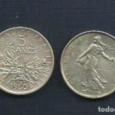 Monedas antiguas de Europa: PLATA-FRANCIA-MONEDA 5-FRANCS-1960. Lote 143807828