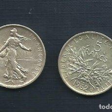 Monedas antiguas de Europa: PLATA-FRANCIA-MONEDA 5-FRANCS-1962. Lote 145416992