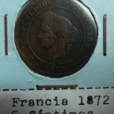 Monedas antiguas de Europa: FRANCIA 1872. 5 CÉNTIMOS. Lote 118576639