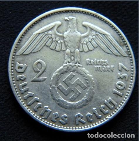 Monedas antiguas de Europa: Alemania - Tercer Reich 2 reichsmark, 1937 Ceca D - Múnich - PLATA - Foto 2 - 118663347