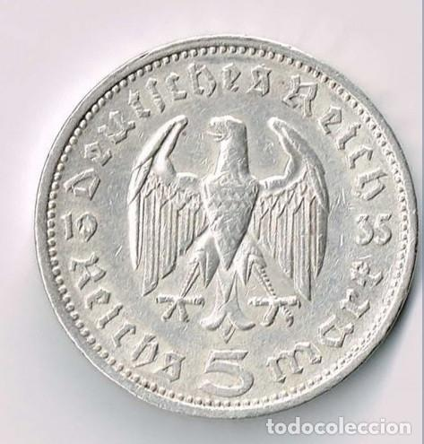 Monedas antiguas de Europa: Alemania - Tercer Reich 5 reichsmark, 1935 Ceca A - Berlín PLATA - Foto 2 - 118676491