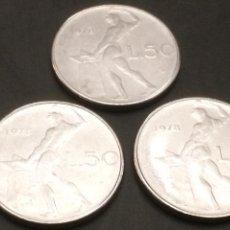 Monedas antiguas de Europa: LOTE 3 MONEDAS SIN CIRCULAR 50 LIRAS DE 1978. Lote 119279091