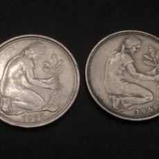 Monedas antiguas de Europa: 2 MONEDAS DEUTSCHLAND 50 PFENNIG 1969 Y 1985. Lote 119280204