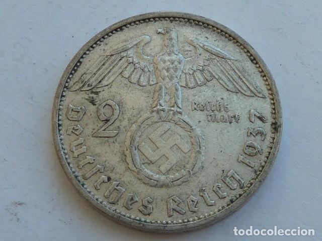 MONEDA DE PLATA 2 MARCOS 1937 F, CECA DE STUTTGART, ALEMANIA NAZI, MARISCAL PAUL VON HINDENBURG (Numismática - Extranjeras - Europa)