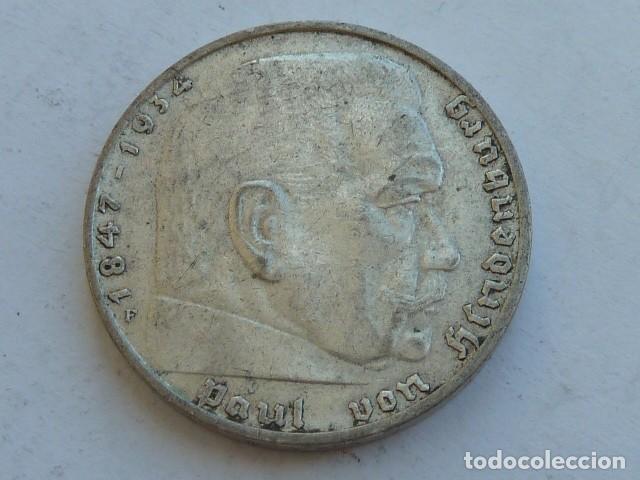 Monedas antiguas de Europa: MONEDA DE PLATA 2 MARCOS 1937 F, CECA DE Stuttgart, ALEMANIA NAZI, MARISCAL PAUL VON HINDENBURG - Foto 2 - 121182147