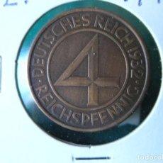Monedas antiguas de Europa: MONEDA 4 REICHSPFENNIG - ALEMANIA - 1932 E - EBC. Lote 118478383