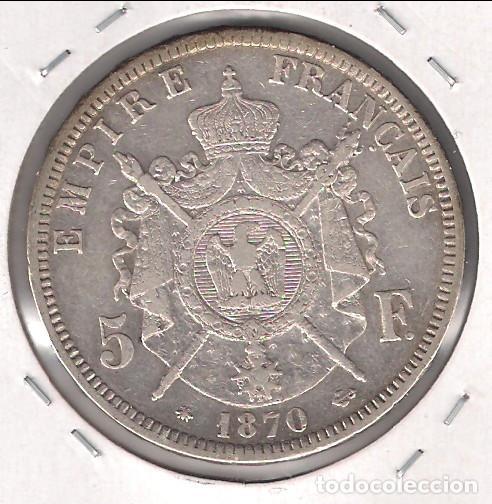 Monedas antiguas de Europa: MONEDA DE 5 FRANCOS DE FRANCIA DE 1870-A. PLATA. MBC- (ME1935) - Foto 2 - 124532479
