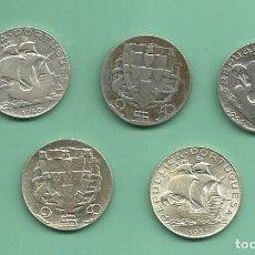 Monedas antiguas de Europa: PLATA-PORTUGAL 5X2,5 ESCUDOS 1940,43,44,46,51. 3,5 GRAMOS DE LEY 0,650. Lote 124685935