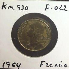 Monedas antiguas de Europa: FRANCIA - UNA MONEDA DE VEINTE (20) CENTIMOS *BUHOS* - AÑO 1964 - KM.930 (BIEN CONSERVADA). Lote 125880599