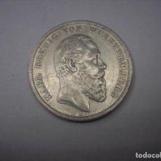 Monedas antiguas de Europa: ALEMANIA, WURTTEMBERG.5 MARCOS DE PLATA DE 1876 F--REY GUILLERMO II. Lote 126439279