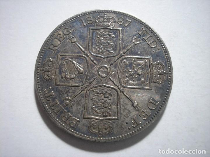 Monedas antiguas de Europa: Gran Bretaña victoria doble Florin 1887 Plata - Foto 2 - 126474307