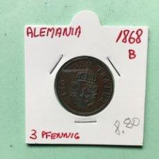 Monedas antiguas de Europa: 611 ) ALEMANIA 3 PFENNIG AÑO 1868 ,B, EN MUY BUEN ESTADO CONSERVACIÓN. Lote 127110882