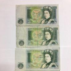 Monedas antiguas de Europa: 4 BILLETES DE 1 LIBRA ENGLAND 2 SIN CIRCULAR BUENA CONSERVACIÓN PARA COLECCIONISTAS. Lote 127831611