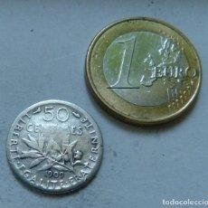 Monedas antiguas de Europa: MONEDA DE PLATA DE 50 CENTIMOS DE FRANCIA AÑO 1909. Lote 128133663