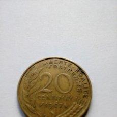 Monedas antiguas de Europa: 20 CÉNTIMOS FRANCOS FRANCIA 1967, KM# 930, PRE- EURO, CENTIMES FRANCS. Lote 128277303