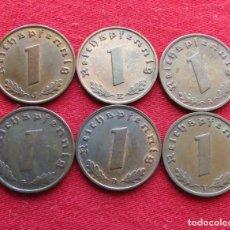Monedas antiguas de Europa: ALEMANIA 6 MONEDAS 1 PF 1938 A D E F G J NAZI. Lote 129473307