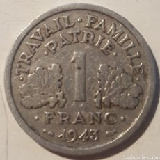 Monedas antiguas de Europa: FRANCIA 1 FRANCO 1943. Lote 129735984