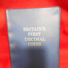 Monedas antiguas de Europa: EXCLUSIVA CARTERA 5 VALORES (3 COBRE Y 2 NIQUEL) BRITAINS FIRST DECIMAL COINS. CALIDAD PROOF. Lote 129997263