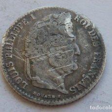 Monedas antiguas de Europa: RARA MONEDA DE PLATA DE 1/4 DE FRANCO DE LUIS FELIPE DE FRANCIA DE 1834 A, CECA DE PARIS, ESCASA. Lote 132752202