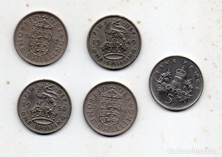 LOTE DE 5 MONEDAS DE GRAN BRETAÑA. JORGE VI E ISABEL II. (Numismática - Extranjeras - Europa)