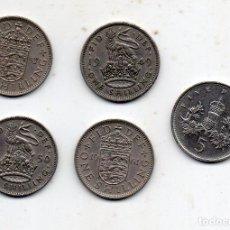 Monedas antiguas de Europa: LOTE DE 5 MONEDAS DE GRAN BRETAÑA. JORGE VI E ISABEL II.. Lote 133243510