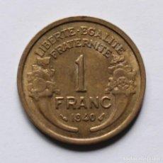 Monedas antiguas de Europa: 1 FRANC 1940 DE FRANCIA, COLECCION SEGUNDA GUERRA MUNDIAL. Lote 133377046