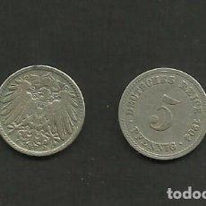 Monedas antiguas de Europa: ALEMANIA IMPERIAL 2 MONEDAS DE 5 PFENNIG 1904-AD. Lote 133498866