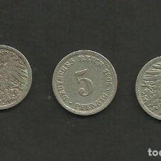Monedas antiguas de Europa: ALEMANIA IMPERIAL 3 MONEDAS DE 5 PFENNIG 1906-ADJ. Lote 133499302