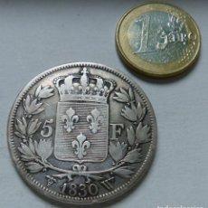 Monedas antiguas de Europa: MONEDA DE PLATA DE 5 FRANCOS DEL REY CARLOS X DE FRANCIA AÑO 1830 CECA DE LILLE MBC. Lote 133806630